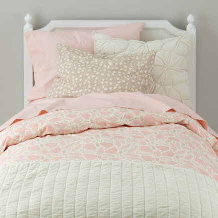 Forest Themed Pillow Sham (Pink) - Pink Well Nested Organic Floral Sham