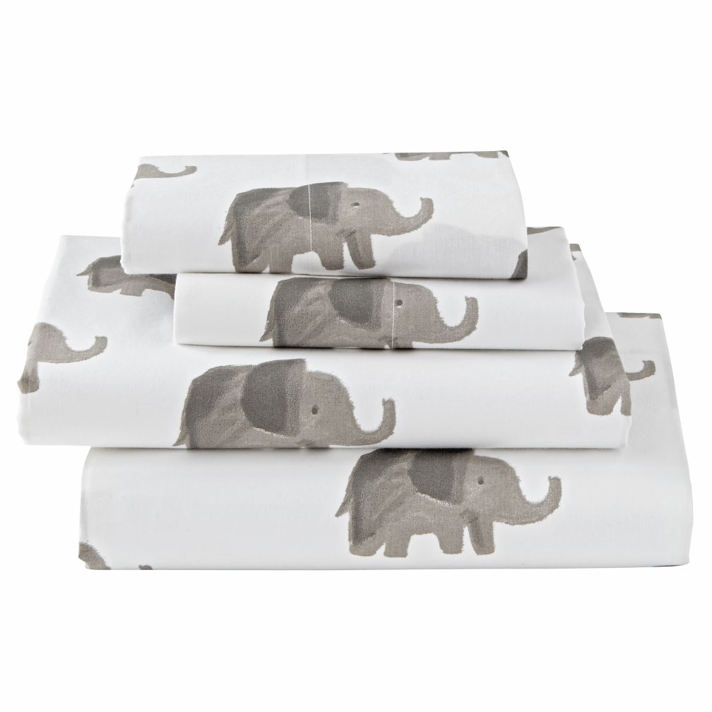 Organic Wild Excursion Elephant Twin Sheet Set
