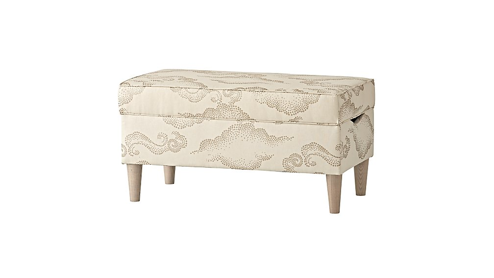 Upholstered Storage Bench (Cloudburst Linen Pearl)
