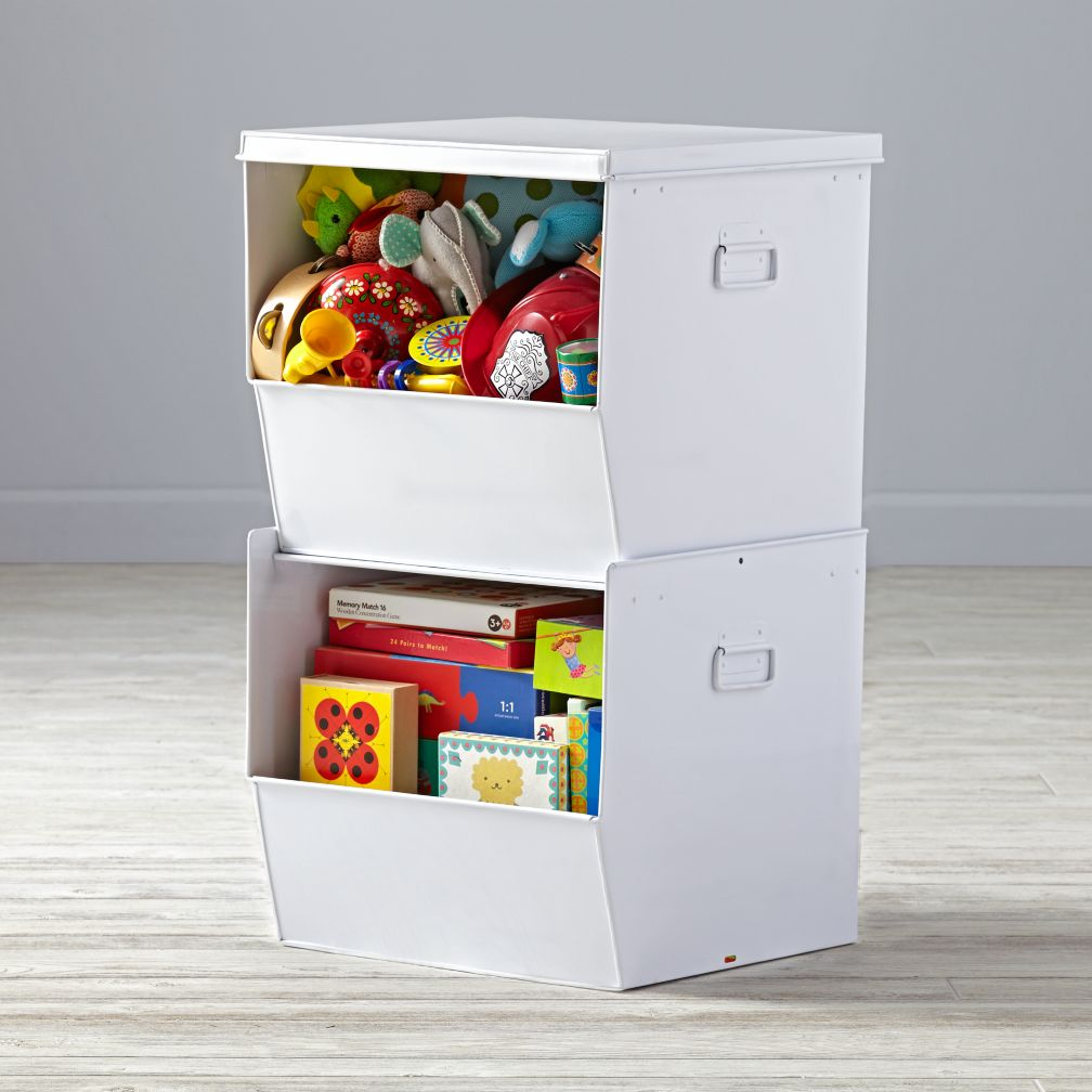 Stack Up Metal Bins (White)