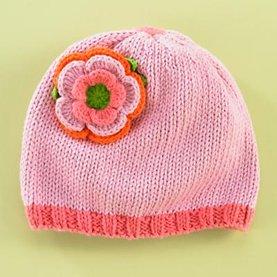 0-3 mos. Pink Flower Hat