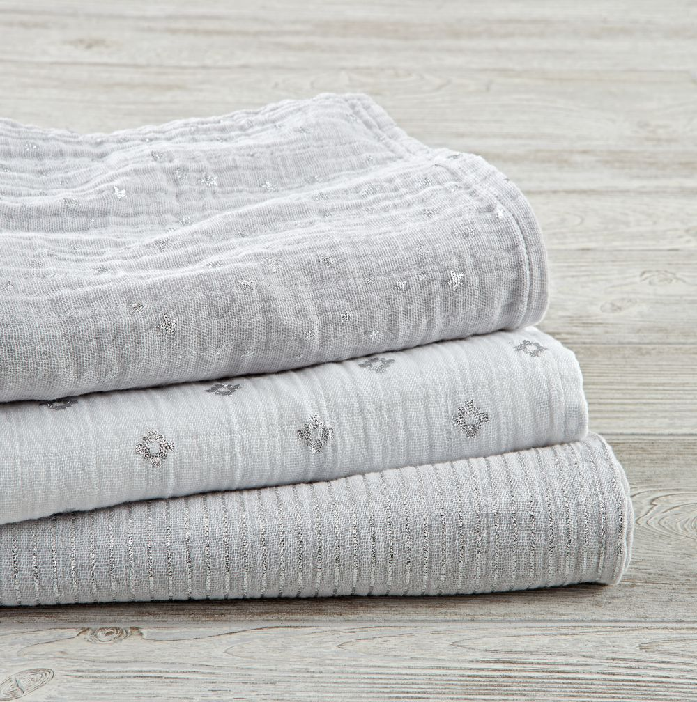 aden + anais Metallic Grey Swaddle Blankets (Set of 3)