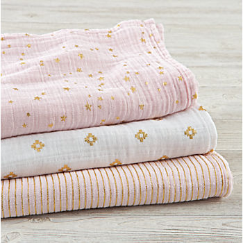 aden + anais Metallic Pink Swaddle Blankets (Set of 3)