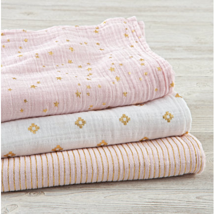 aden + anais Metallic Pink Swaddle Blankets - aden + anais Metallic Pink Swaddle Blankets (Set of 3)
