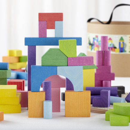 Kids Wooden Toys: Colorful Wooden Blocks - Bright Bucket O Blocks