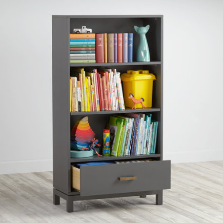 Cargo Bookcase with Drawer (Grey) - Charcoal Cargo Bookcase