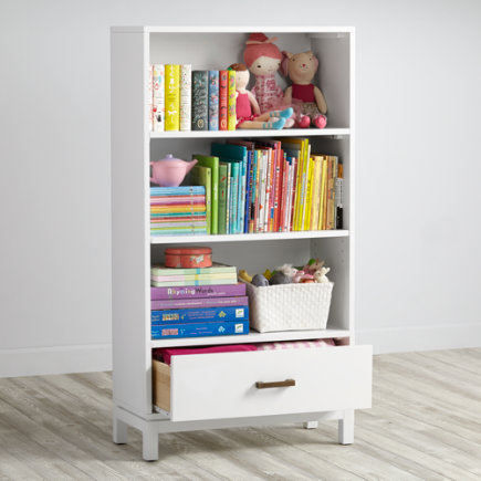Cargo Bookcase with Drawer (White) - White Cargo Bookcase