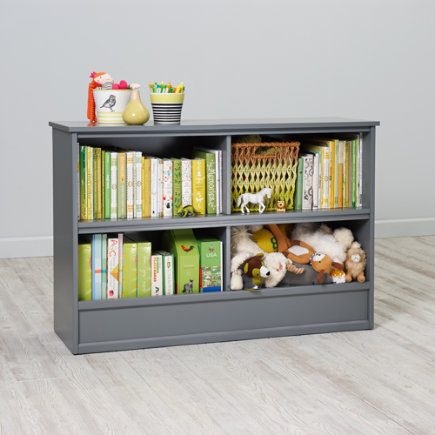 32 Horizon Bookcase With Bins (Grey) - 32 Grey Horizon Bookcase