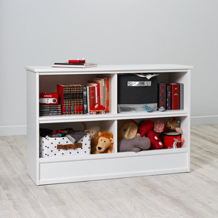 32 Horizon Bookcase With Bins (white) - 32 White Horizon Bookcase