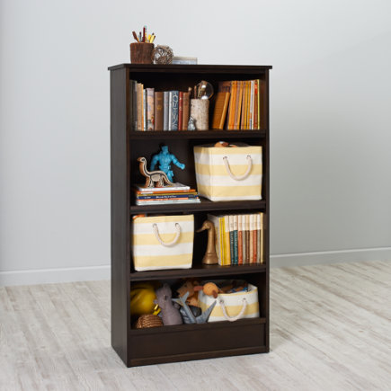 60 Horizon Bookcase With Bins (White) - 60 Java Horizon Bookcase