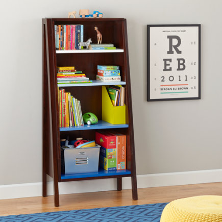 Graduated Tall Ombre Bookcase (Blue) - Graduated Tall Bookcase w/Blue Ombre Shelves