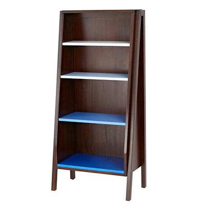 Graduated Tall Bookcase (Blue Shelves)