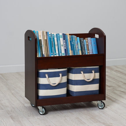 Kids Book Storage: Espresso Rolling Book Storage Shelf and Bin - Espresso Rolling Book Cart