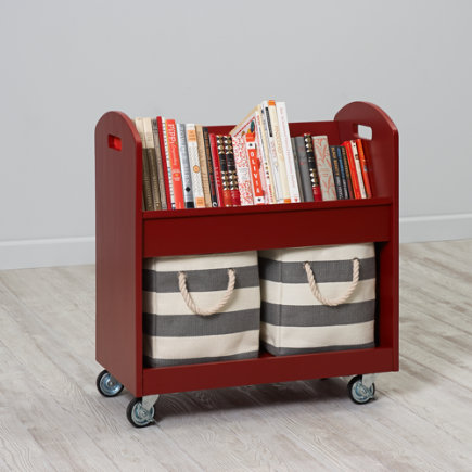 Kids Book Storage: Red Rolling Book Storage Shelf and Bin - Tomato Red Rolling Book Cart