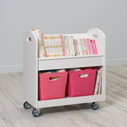 Kids Book Storage: White Kids Rolling Book Storage Shelf and Bin - White Rolling Book Cart