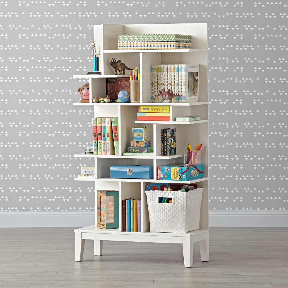 modern maze tall bookcase the land of nod. Black Bedroom Furniture Sets. Home Design Ideas