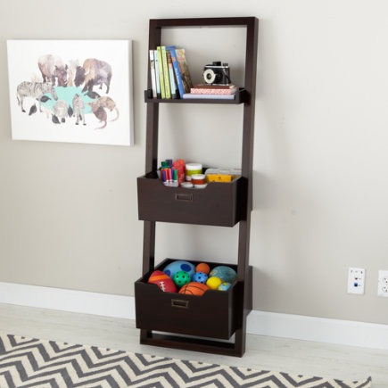 Kids Desk: Kids Chocolate Leaning Wall Bookcase - Java Little Sloane Leaning Bookcase/Bins