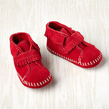 0-3 mos. Minnetonka ® Velcro ® Front Strap Bootie (Red)