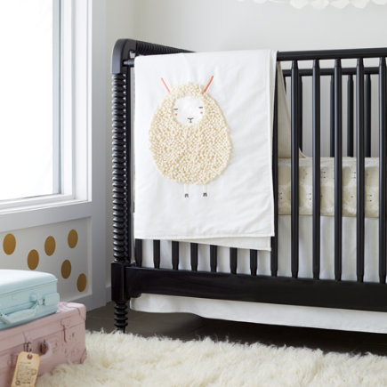 Sheepish: Sheep Print Crib Bedding - White Sheepish Baby Quilt