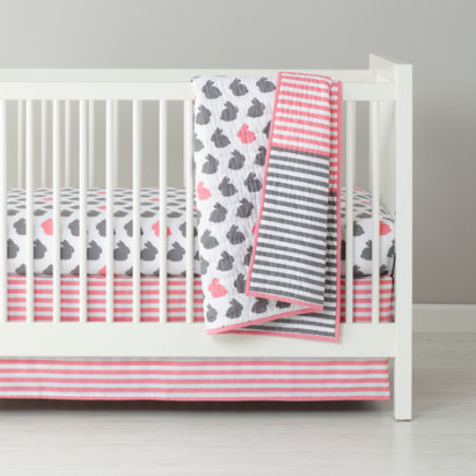 Baby Bedding: Grey Pink Bunny Crib Bedding - Hop to It Baby Quilt