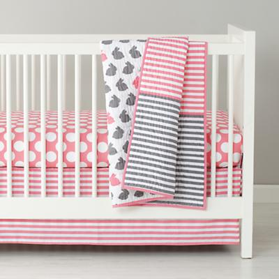 Hop to It Crib Fitted Sheet (Pink w/White Dot)