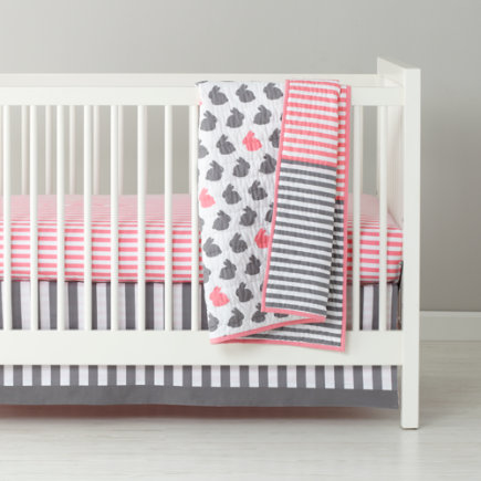 Baby Bedding: Pink Grey Striped Crib Skirt - Hop to It Reversible Stripe Crib Skirt