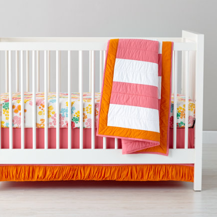 Pink & Orange Ruffle Crib Skirt