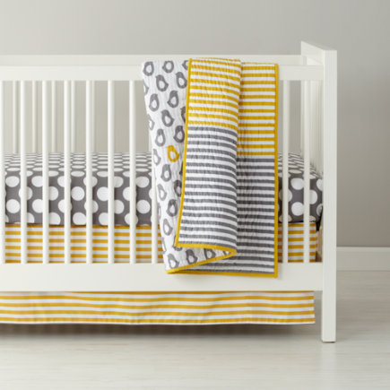 Crib Skirts: Grey and Yellow Stripe Crib Skirt - Yellow & Grey Stripe Reversible Crib Skirt