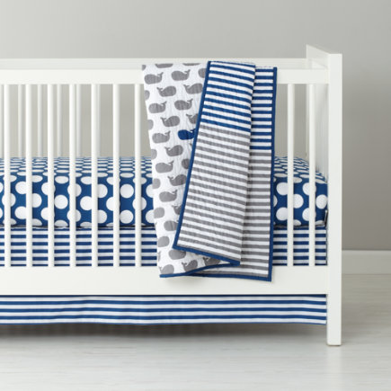 Baby Bedding: Grey Blue Striped Crib Skirt - Blue & Grey Stripe Reversible Crib Skirt