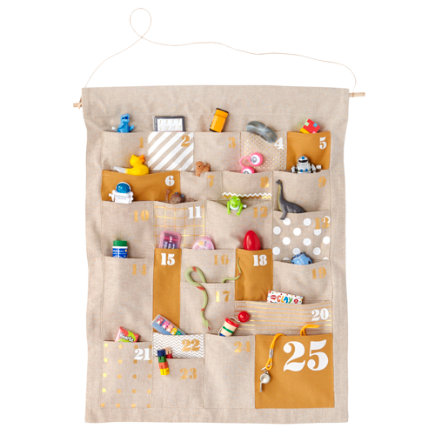 Kids Holiday Decor: Kids Chambray Christmas Advent Calendar - Gold Shapes and Sizes Countdown Advent Calendar