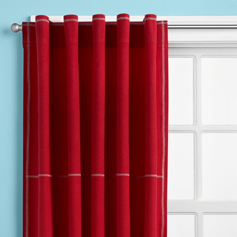 Seed Sprout Solid Tab Top Window Curtain, (2 Panels) Solid Red