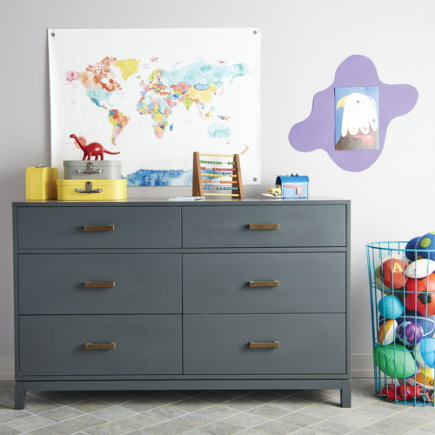 Cargo 6-Drawer Dresser (Grey) - Charcoal Cargo 6 Drawer Dresser