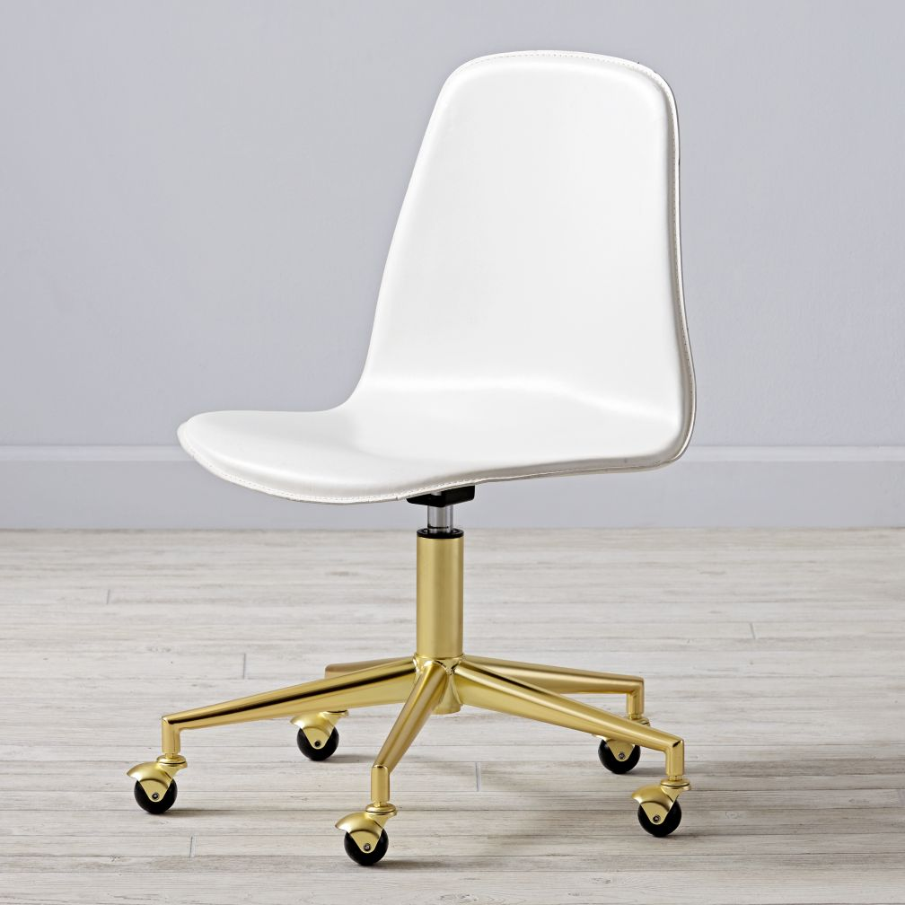 Class Act White & Gold Desk Chair