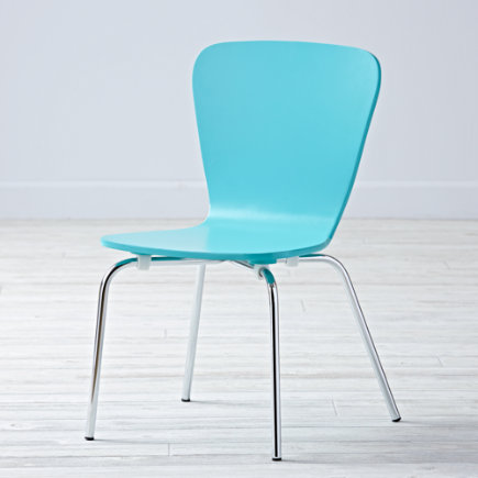 Kids Desk Chairs: Kids Painted Blue Chair with Metal Legs - Azure Little Felix ChairFloor to Seat: 14 H
