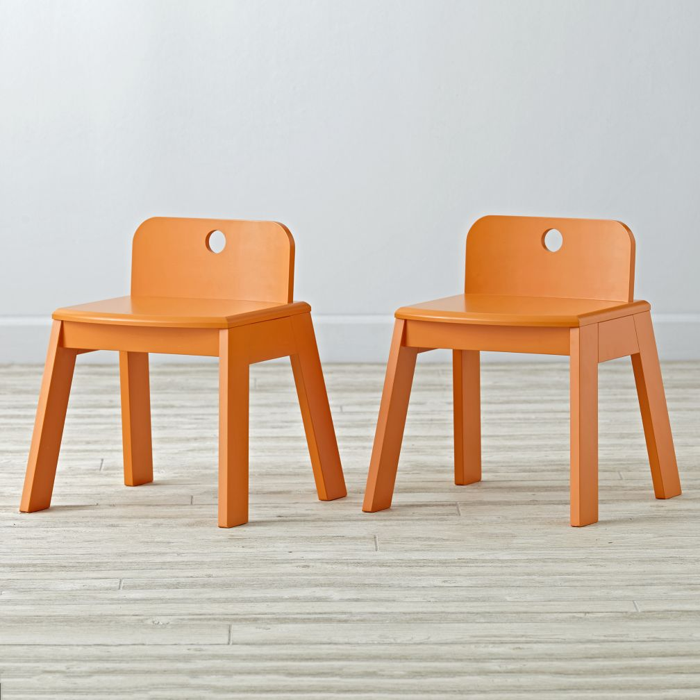 Set of 2 Mojo Orange Kids Chairs
