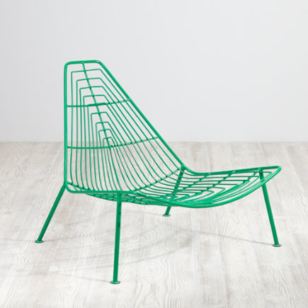 Domino Lounge Green Metal Kids Chair - Green Domino Lounge Chair