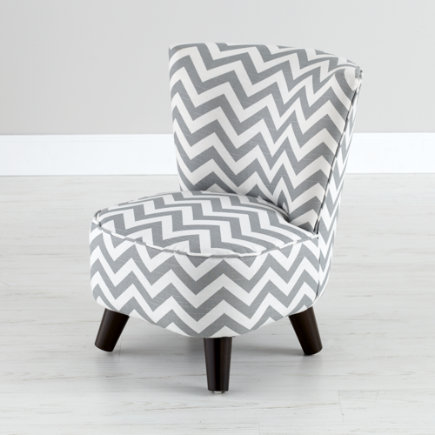 Kids Chairs: Grey Chevron Mini Chair   Grey/White Slipper Chair