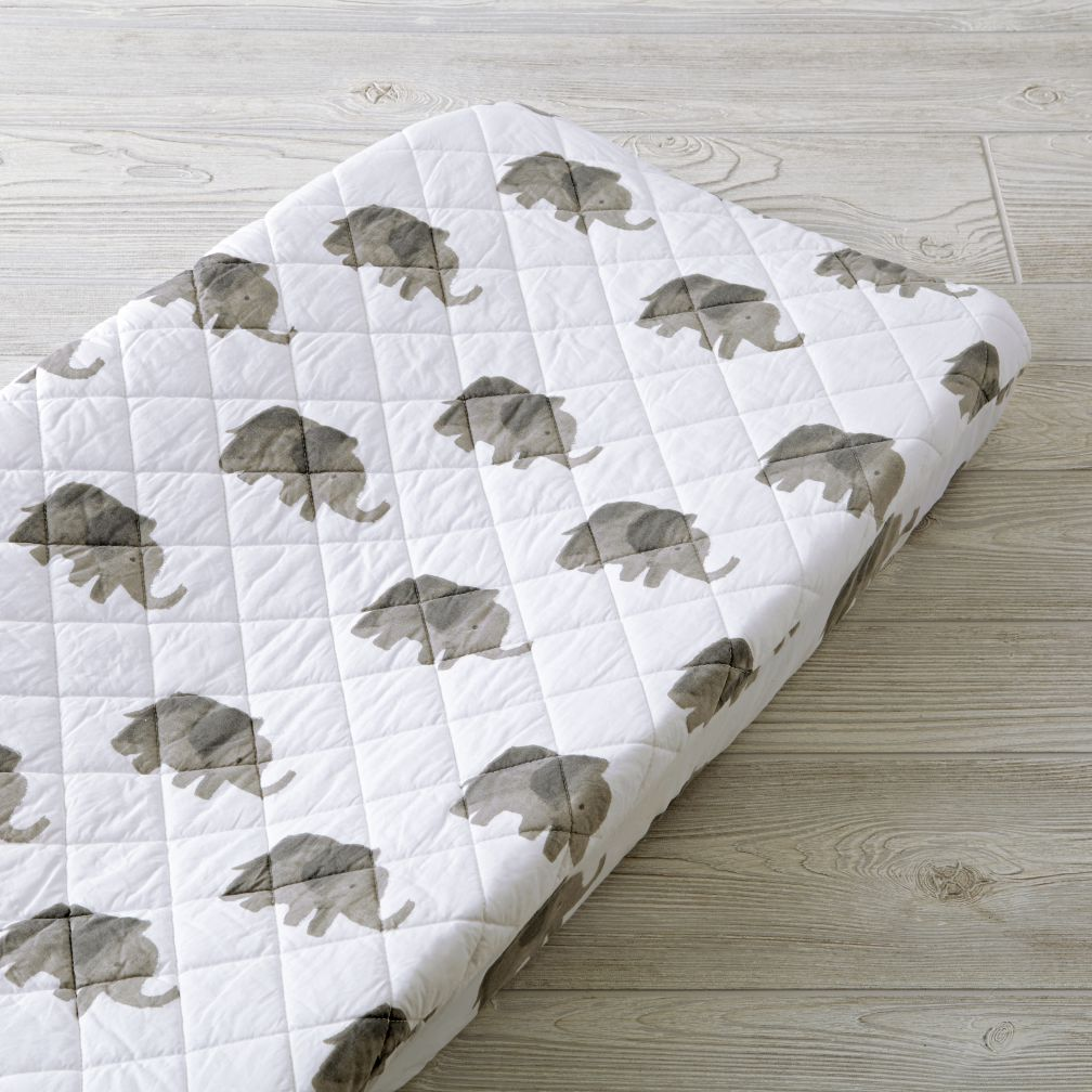 Organic Wild Excursion Elephant Changing Pad Cover