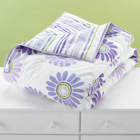Fresh as a Daisy and Stripe Comforter (Lavender)