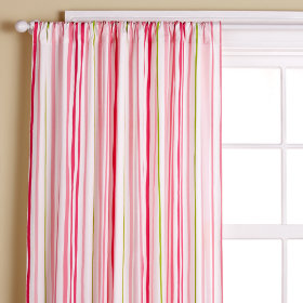 Citrus Stripe Curtain Panels (Pink)