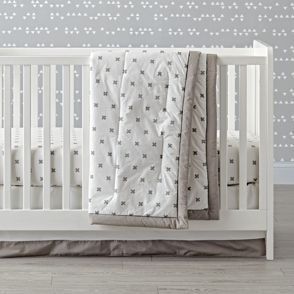 Iconic Grey X Crib Bedding