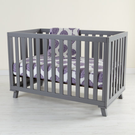 Baby Cribs: Baby Painted Grey Low Rise Modern Crib - Grey Low-Rise Crib