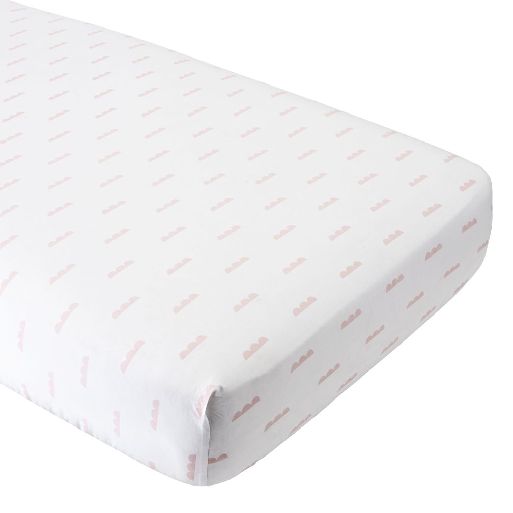 Organic Iconic Pink Clouds Crib Fitted Sheet