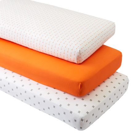 - Iconic Orange Arrow Crib Fitted Sheets (set Of 3)