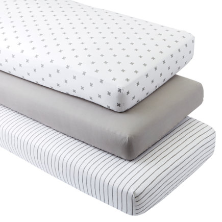 - Organic Iconic Grey X Crib Fitted Sheets (set Of 3)