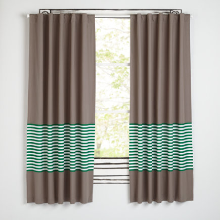 New School Curtains (Green Stripe) - 63 Green Stripe New School Curtain (Sold Individually)