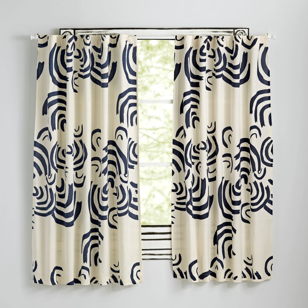 "63"" Navy Cloudscape Curtain"