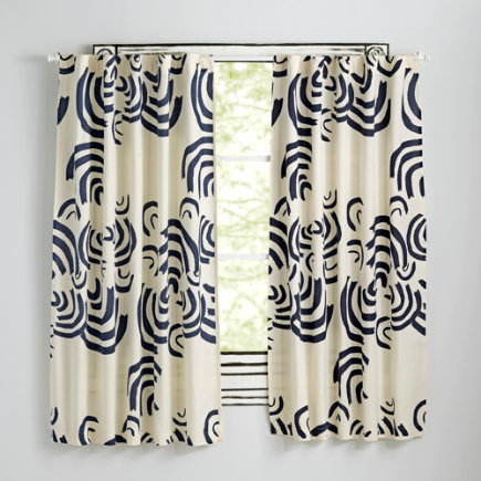 63 Navy Cloudscape Curtain(Sold Individually)