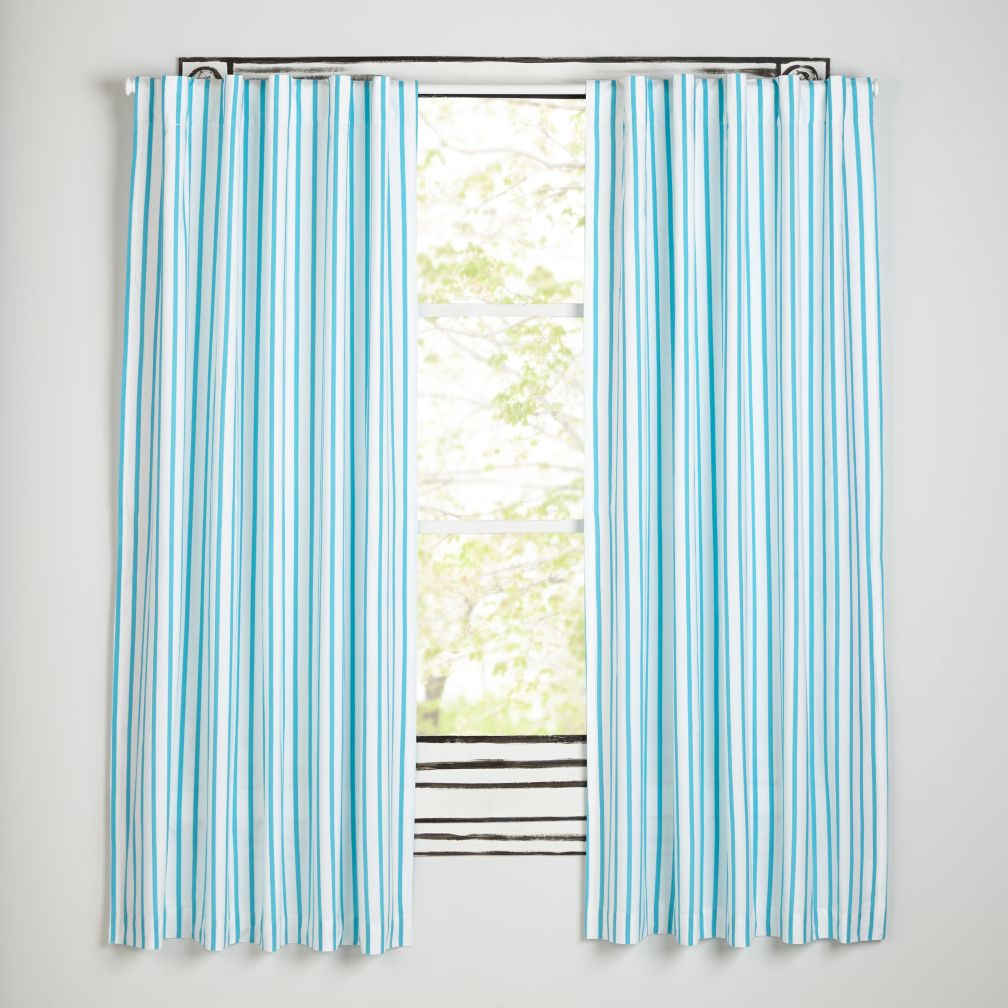 "63"" Early Edition Curtain (Blue Stripe)"