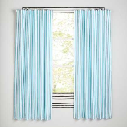 Early Edition Curtains (Blue) - 63 Blue Stripe Early Edition Curtain (Sold Individually)